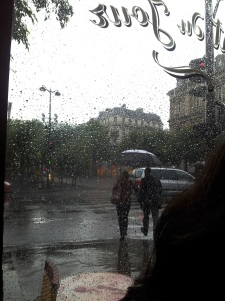 Rain from a cafe in Paris.